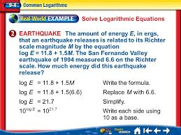 7 solve logarithmic equations