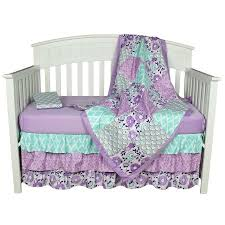 The Peanut Shell Baby Girl Crib Bedding Set Purple Floral Design