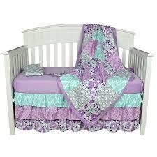 The Peanut Shell Baby Girl Crib Bedding Set - Purple Floral Design - Zoe 4  Piece