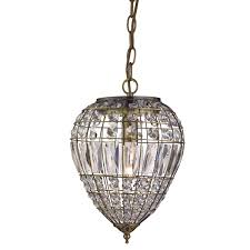 searchlight pineapple pendant 1 light antique brass clear glass ons coffin drop trim