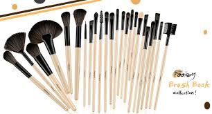 foolzy professional brown makeup brush set with travel case 24 no s