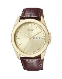 details about citizen men s gold tone with brown leather strap quartz watch 0582 01p