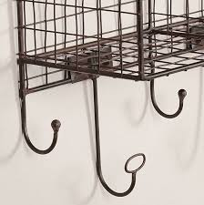 grid style metal four cubbie shelf organizer for entryway wall rack with hooks in black