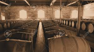 storage oak wine barrels. Sepia Photo Of Historical Wine Barrels In Winery Storage Area Featuring Rows Oak After