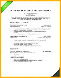 Warehouse Resume Examples Adorable Example Of Warehouse Worker Resume Warehouse Resume Examples Resume