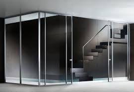 minimalist sliding glass door featuring a transpa glass panel with stainless steel frame