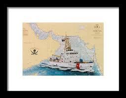 Uscgc Baranof Nautical Chart Cathy Peek Framed Print