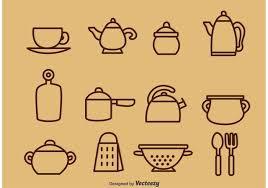 vintage kitchen utensils illustration. Delighful Illustration Outlined Vintage Kitchen Utensil Vector Icons And Utensils Illustration