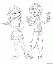 Lego Friends Mia Drinks Coloring Pages Printable