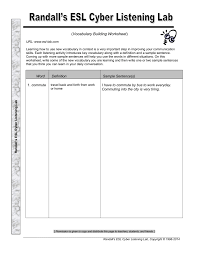 Vocab Building Worksheets Vocabulary Building Worksheet Randalls Esl Cyber