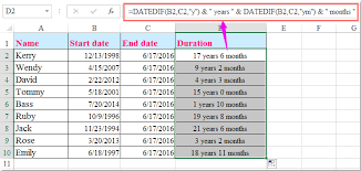 excel service how to calculate the length of service from hire date in excel