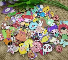 <b>50Pcs Mixed</b> Printing Wood Sewing Buttons For Kids Clothes ...