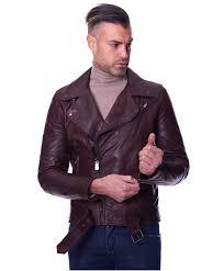 chiodo biker dark brown colour lamb leather belted biker jacket wrinkled aspect