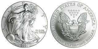 2001 W American Silver Eagle Bullion Coin Bullion No Mint