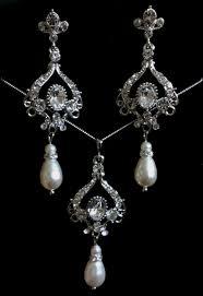 chandelier bridal jewelry set pearl earrings swarovski crystal necklace victorian wedding narnia