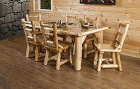 rustic white cedar log dining table 6 chairs set