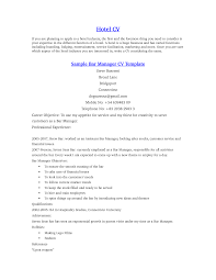 Resume Bar Manager Free Resume Example And Writing Download