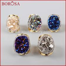<b>BOROSA Gold</b> Color Rainbow Crystal Titanium Druzy Quartz ...