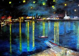 starry night over the rhone my version of vincent van gogh s painting of arles at night my paintings