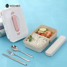 WORTHBUY Japanese Plastic Bento Box Portable Kids Microwave Lunch With Compartments BPA Free Wheat Straw Food Container