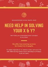 Red And Orange Formula Patterned Math Tutor Flyer