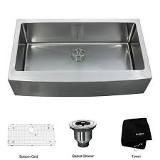 kraus 36 inch farmhouse single bowl stainless steel kitchen sink with noisedefend