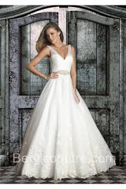 gown v neck open back tulle lace wedding dress with sheer straps