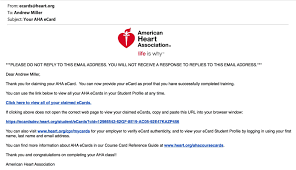 this email also includes the url that you may visit in the future to log into your ecard profile heart org cpr mycards to log into the ecard profile