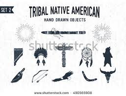 Dream Catcher Airplane Hand Drawn Tribal Icons Set Flutes Stock Vector 100 100