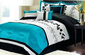 black and teal comforter white set stainless steel arch lamps bed