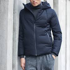 mens casual down jackets winter coat thick warm short 90 duck down chinese japan style solid black basic nakali m1104