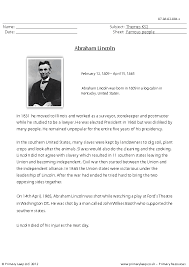Comprehension - Abraham Lincoln