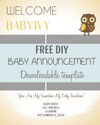 birth announcement templates diy baby announcement template pee wee baby announcement fun