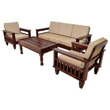 brown 5 seater wooden sofa set for