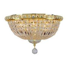 gold ceiling light with clear crystal