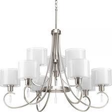 delightful progress lighting chandelier 1 brushed nickel chandeliers p4697 09 64 1000