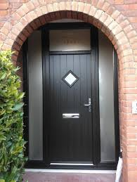 black composite door with 2 frosted glass window panels
