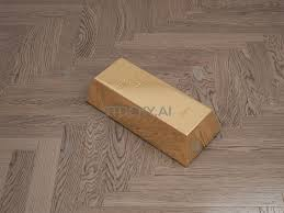 Image Of Gold Bar On Wooden Parquet 3d Illustration