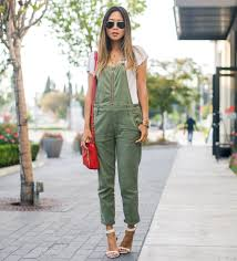 green overalls with white top