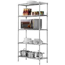 kitchen wire shelving. LANGRIA 5 Tier Stand Storage Rack, Kitchen Wire Shelving With Spice Rack Organizer, Silver