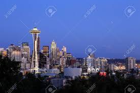Seattle Cityscape Seattle Cityscape With Mt Rainier In The Background Washington