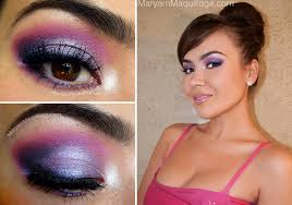 pink and purple highlighted eye makeup for prom