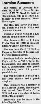 Lorraine Summers (Mother of Virginia Summers-Burns) - Newspapers.com