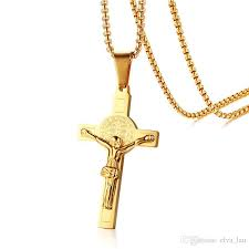 whole mens crucifix cross necklace pendant 24 chain 18k gold plated titanium stainless steel catholic church religious male piece jewelry