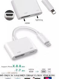 Cáp chuyển đổi từ lightning to hdmi kết nối điện thoại iphone 5/6/7/8X ipad  lên ti vi chất lượng cao1080P Cáp hdmi cho Iphone cáp chuyển hình ảnh từ  điện thoại lên