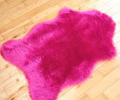bright pink sheepskin fluffy plain rug soft faux fur fake mats washable