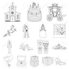Wedding And Attributes Outline Icons In Set Collection For Design