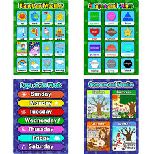 Bememo 4 Pieces Educational Learning Posters Days Of The Week Shapes And Colors Seasons And Months Planet And Weather Charts For Toddlers And Kids