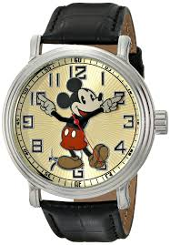 amazon com disney men s 56109 vintage mickey mouse watch amazon com disney men s 56109 vintage mickey mouse watch black leather band watches
