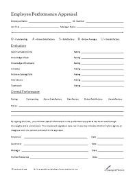Performance Appraisal Sample Form Employee Evaluation Sheet Template Wsopfreechips Co